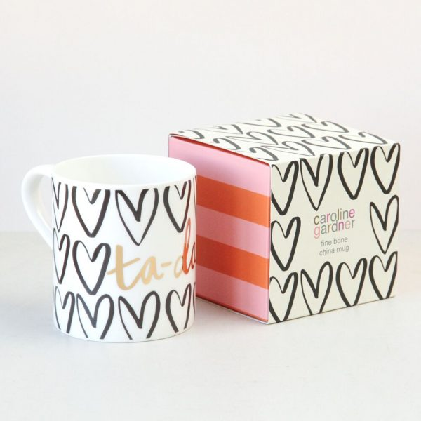Caroline Gardner Gold Hearts Mug, Gift Boxed-0