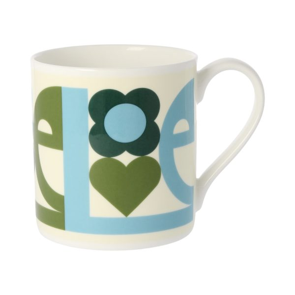 Orla Kiely Love Quite Big Mug, Green-0