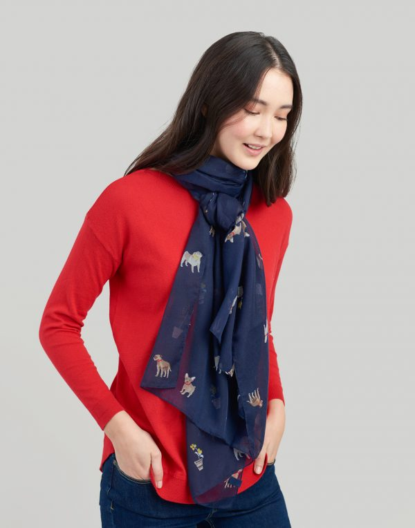 Joules Dog Print Navy Wensley Scarf-3447