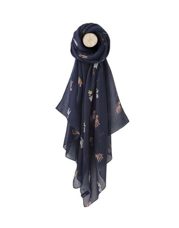 Joules Dog Print Navy Wensley Scarf-0