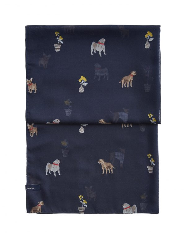 Joules Dog Print Navy Wensley Scarf-3448