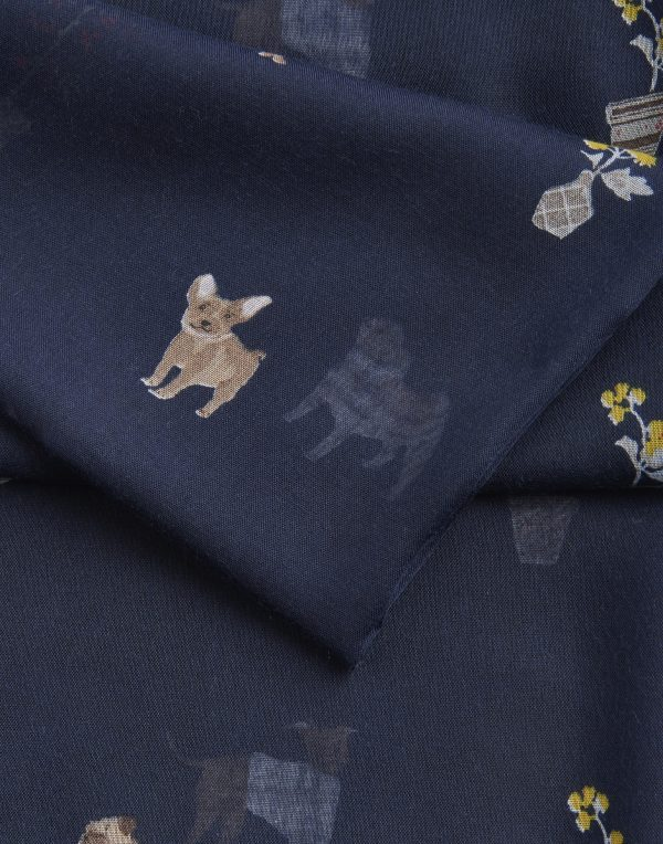 Joules Dog Print Navy Wensley Scarf-3449
