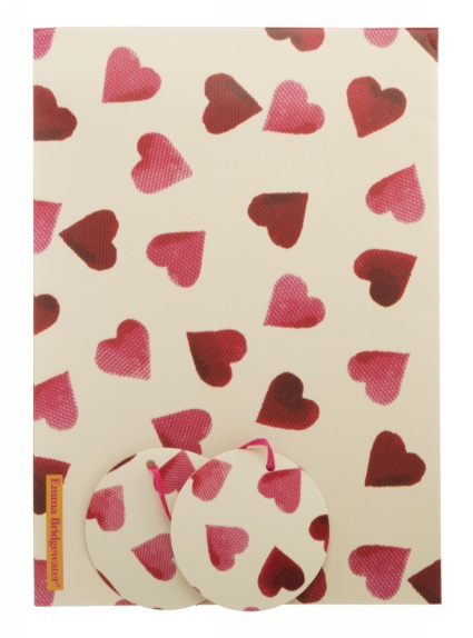 Emma Bridgewater Pink Hearts Wrapping Paper (2 Sheets, 2 Tags)-0