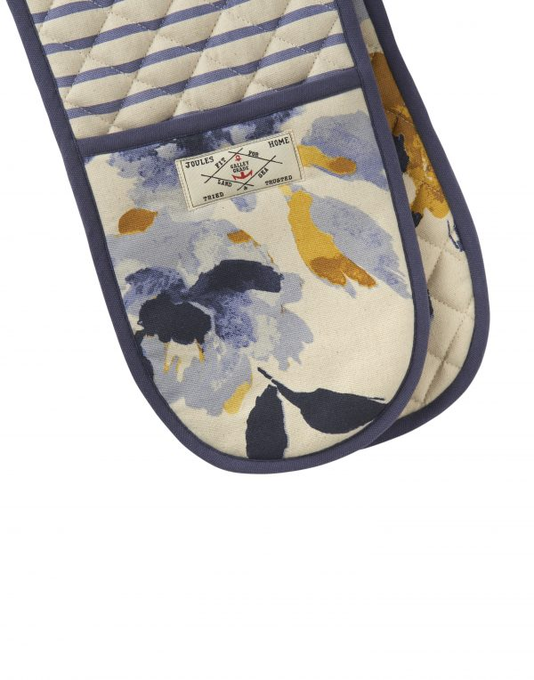 Joules White Ocean Floral Double Oven Gloves-3453