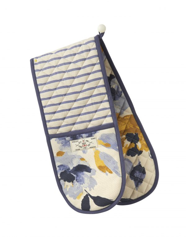 Joules White Ocean Floral Double Oven Gloves-0