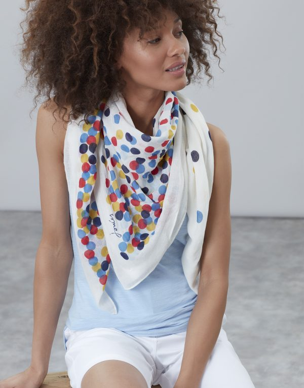 Joules Cream Spot Atmore Scarf-0