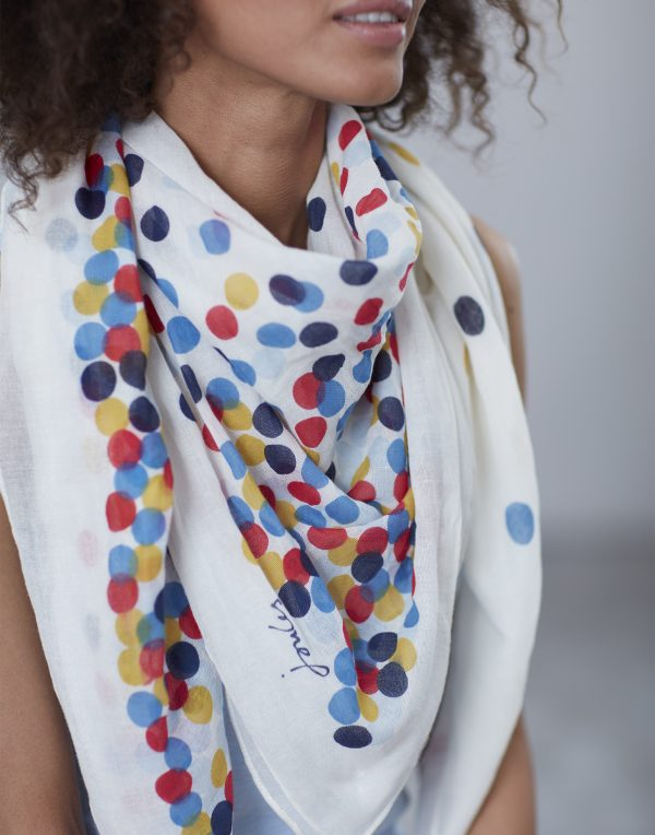 Joules Cream Spot Atmore Scarf-3481