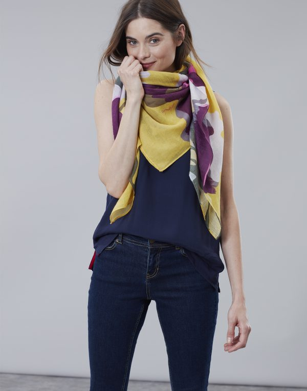 Joules Gold Floral Atmore Scarf-0