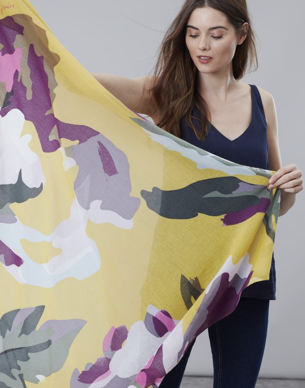 Joules Gold Floral Atmore Scarf-3477