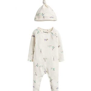 Joules Peter Rabbit Giggle Babygrow & Hat Set, Cream-0