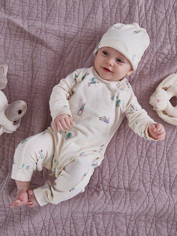 Joules Peter Rabbit Giggle Babygrow & Hat Set, Cream-3588