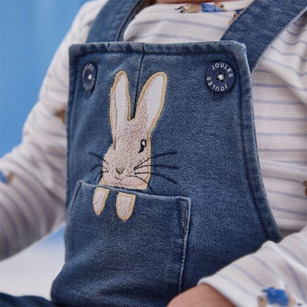 Joules Peter Rabbit Denim Dungaree and T-Shirt Set, Blue Baby Boy-3499