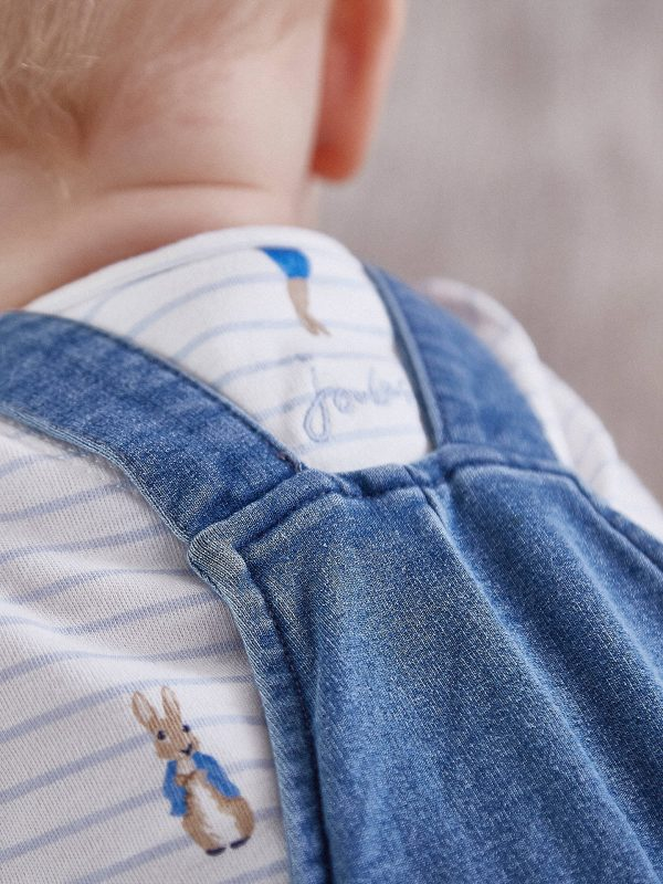 Joules Peter Rabbit Denim Dungaree and T-Shirt Set, Blue Baby Boy-3500