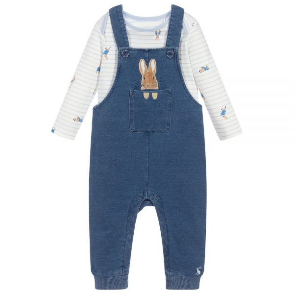 Joules Peter Rabbit Denim Dungaree and T-Shirt Set, Blue Baby Boy-0