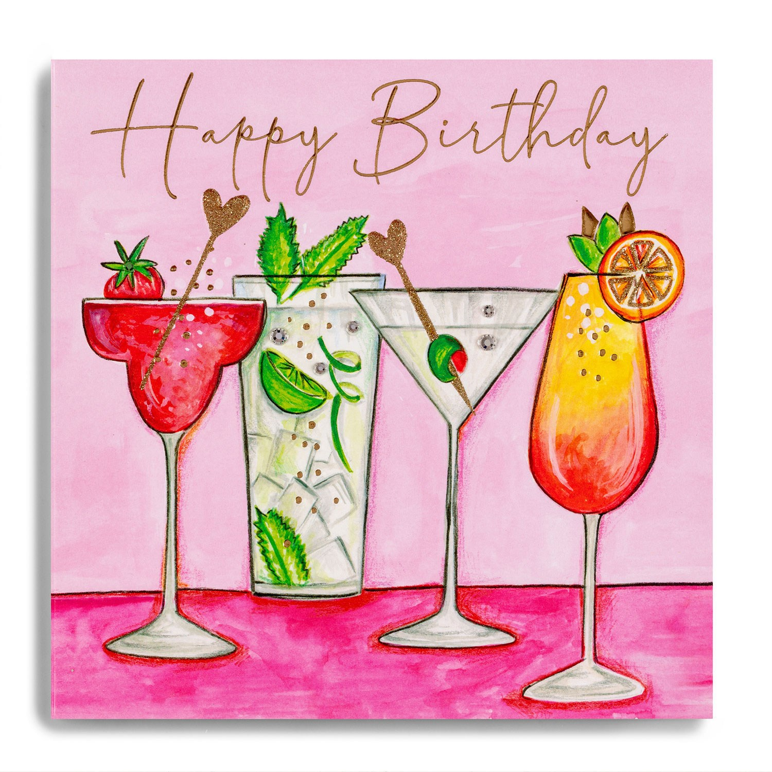 Janie Wilson Happy Birthday Cocktails Card English Designer Gifts