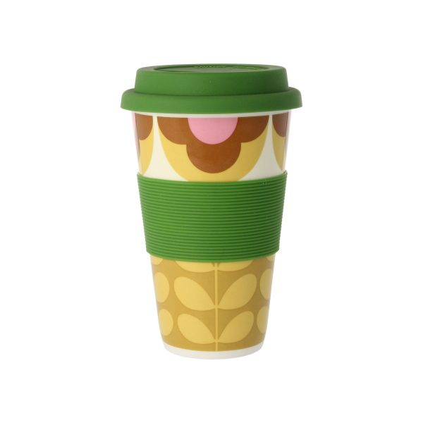 Orla Kiely Summer Flower Stem Pink & Yellow Travel Mug-0
