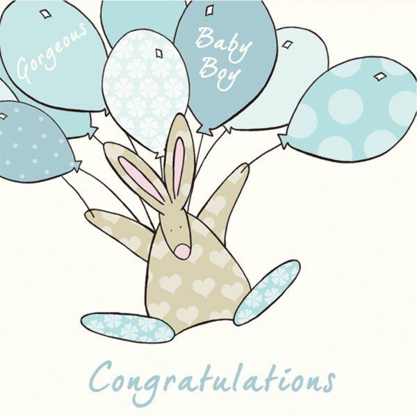 Rufus Rabbit Congratulations Baby Boy Card -0
