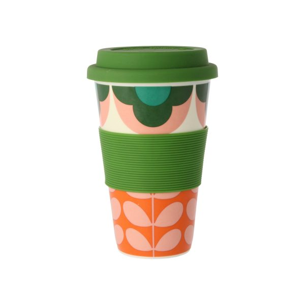 Orla Kiely Summer Flower Stem Pink & Green Travel Mug-0