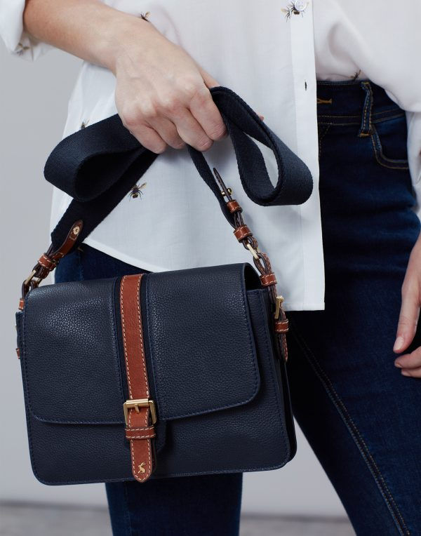 Joules Wimbourne Carriage Leather Cross Body Bag, French Navy-3646