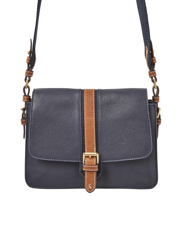 Joules Wimbourne Carriage Leather Cross Body Bag, French Navy-0