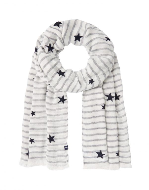 Joules Corin Cream Navy Star Scarf-3632