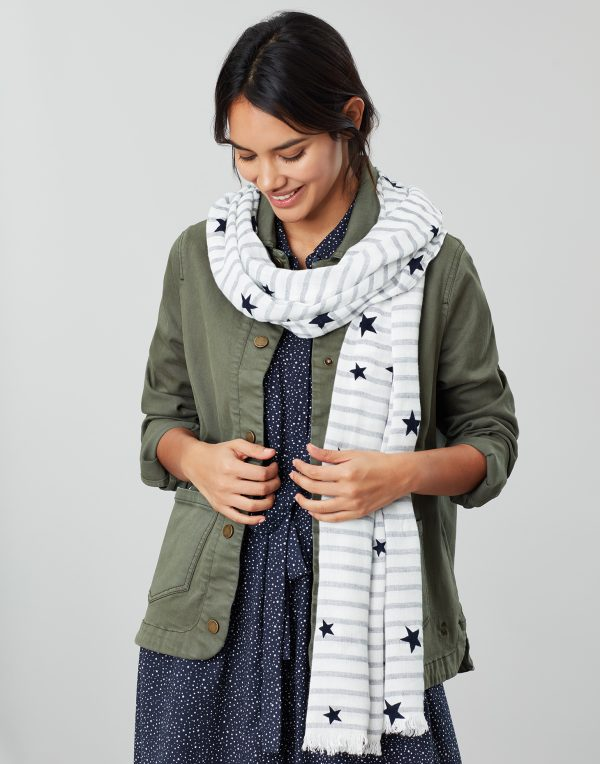 Joules Corin Cream Navy Star Scarf-0