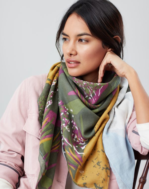 Joules Blue Location Atmore Printed Scarf-0