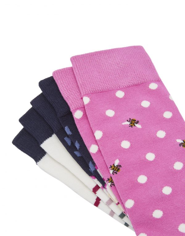 Joules 30th Anniversary Bamboo 3 Pack Floral Socks-3740