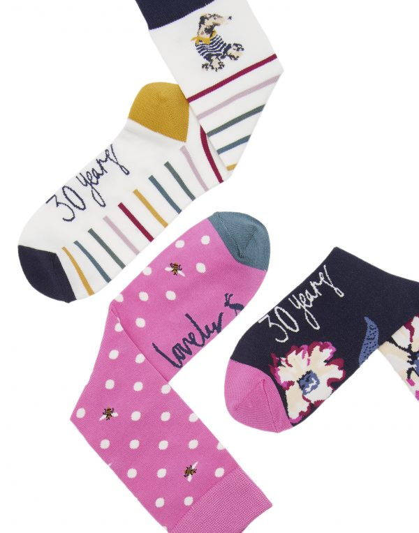 Joules 30th Anniversary Bamboo 3 Pack Floral Socks-3741