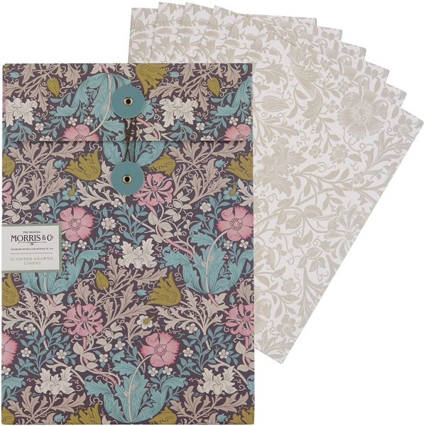 William Morris Pink Clay & Honeysuckle Scented Drawer Liners (5 Sheets)-0