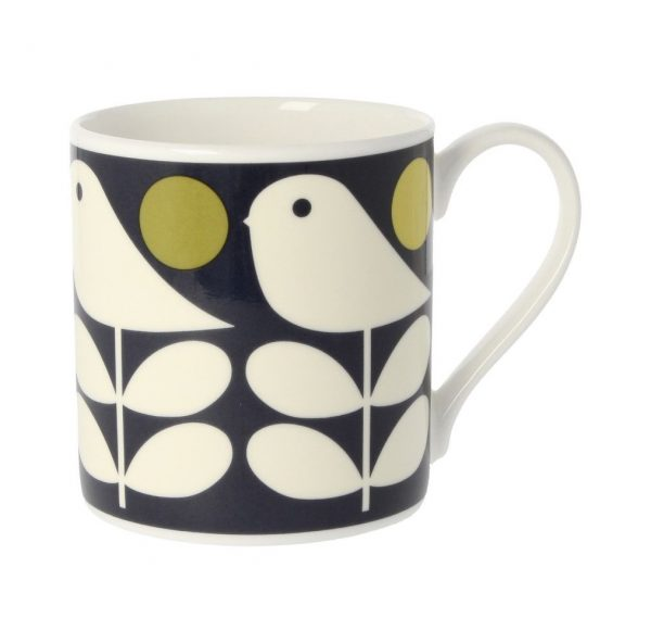 Orla Kiely Quite Big Early Bird Mug, Dark Navy-0