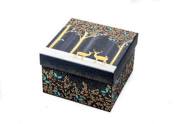 Sara Miller Luxury Deer & Robin Navy Medium Gift Box -0