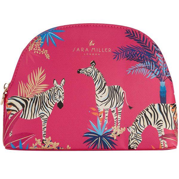 Sara Miller Zebra Pink Medium Cosmetic Bag-0