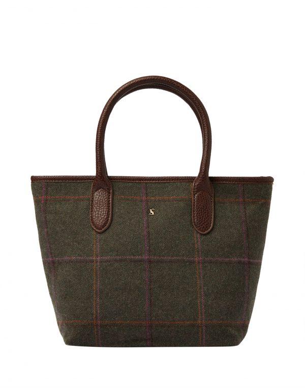 Joules Dark Green Tweed Tote Hand Bag-0