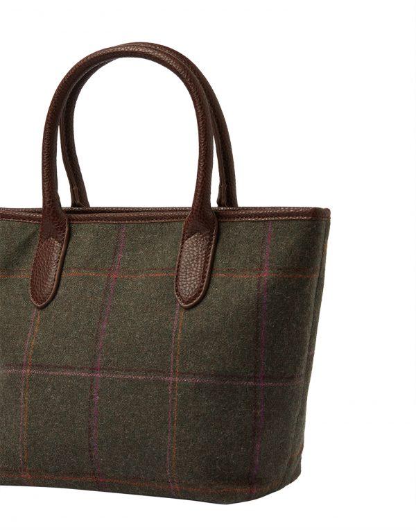 Joules Dark Green Tweed Tote Hand Bag-3781