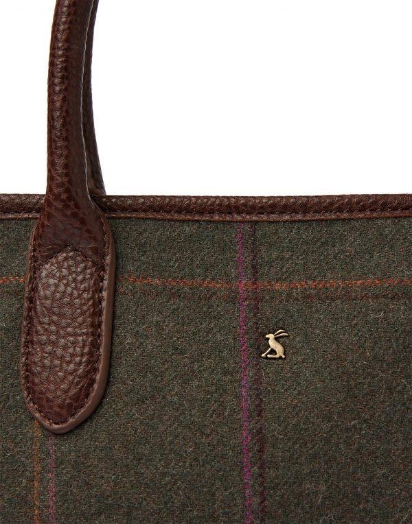 Joules Dark Green Tweed Tote Hand Bag-3784