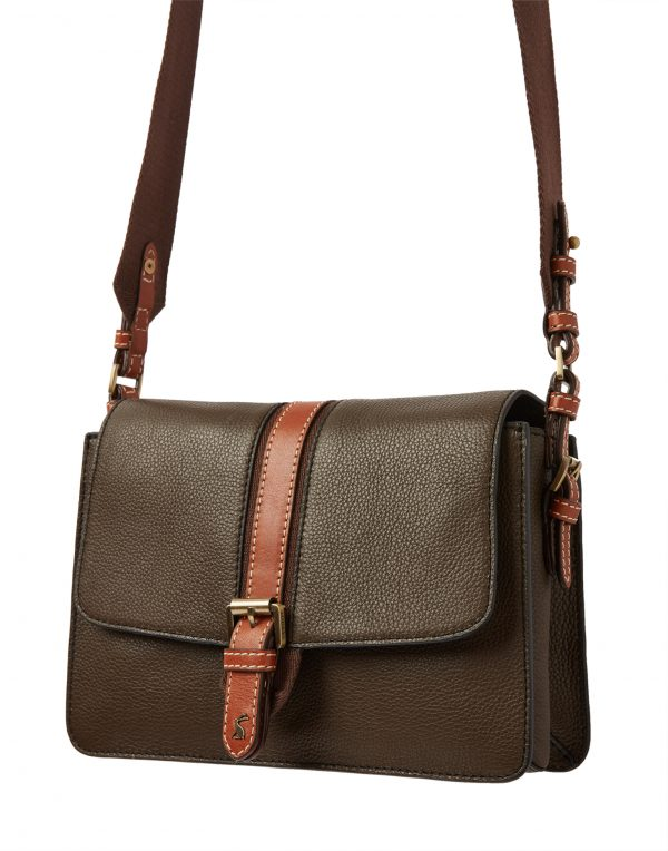 Joules Wimbourne Carriage Leather Cross Body Bag, Khaki Green-0
