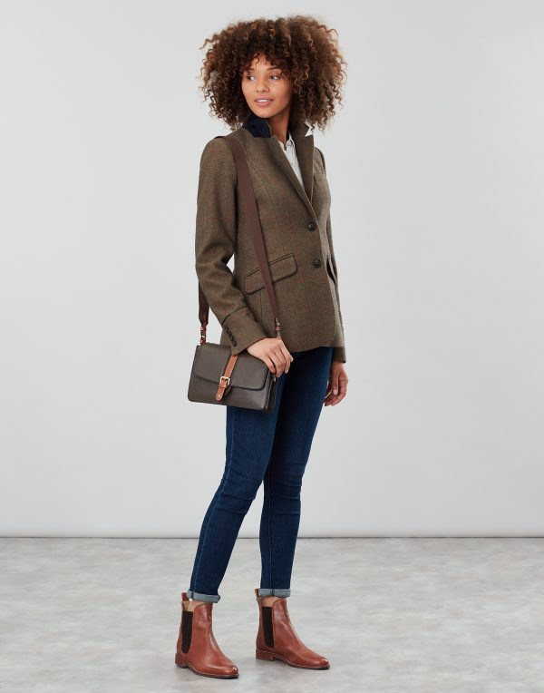 Joules Wimbourne Carriage Leather Cross Body Bag, Khaki Green-3771