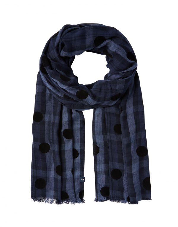 Joules Corin Blue Cotton Check Scarf-3759