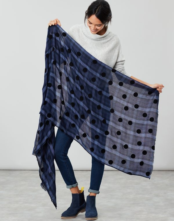 Joules Corin Blue Cotton Check Scarf-3760