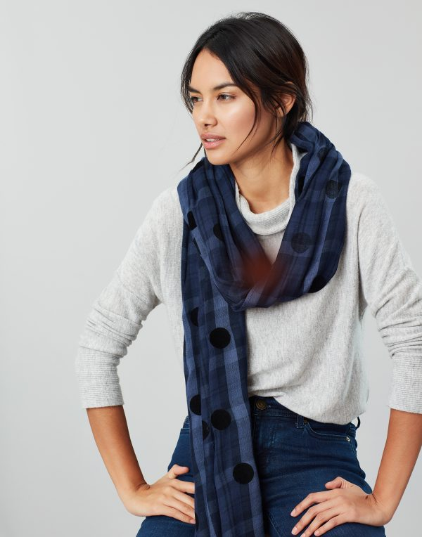 Joules Corin Blue Cotton Check Scarf-0