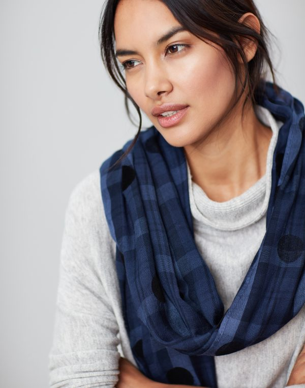 Joules Corin Blue Cotton Check Scarf-3762