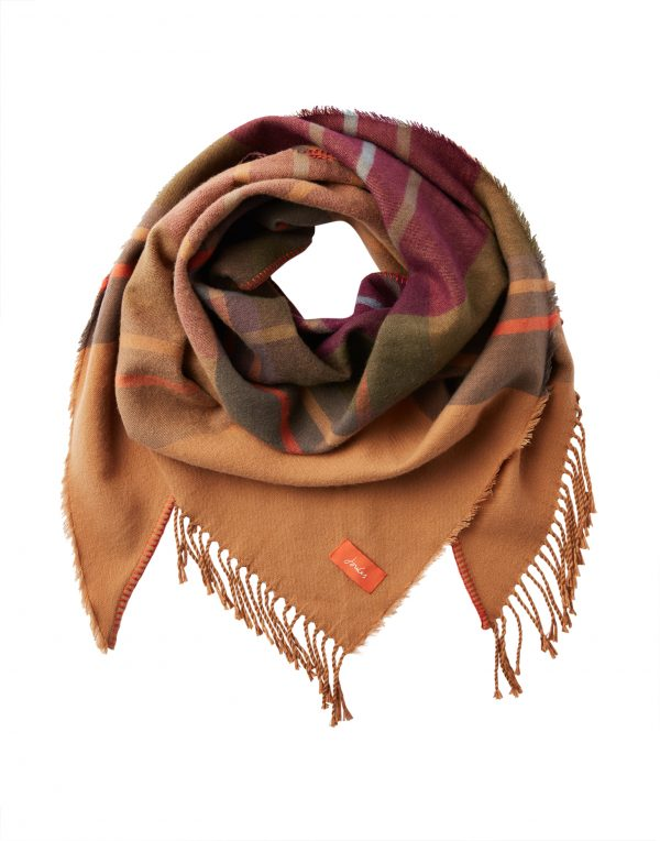 Joules Wilstow Brown Check Triangle Scarf-3763