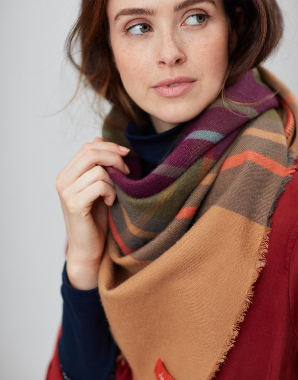 Joules Wilstow Brown Check Triangle Scarf-0
