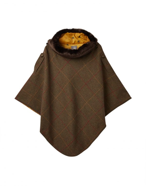 Joules Hazelwood Brown Check Tweed Poncho With Faux Fur Collar-3751