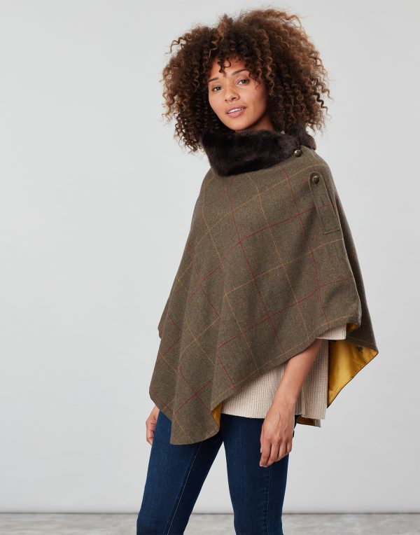 Joules Hazelwood Brown Check Tweed Poncho With Faux Fur Collar-0