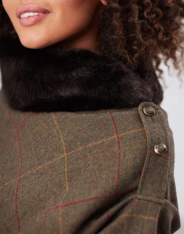 Joules Hazelwood Brown Check Tweed Poncho With Faux Fur Collar-3753