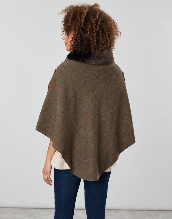 Joules Hazelwood Brown Check Tweed Poncho With Faux Fur Collar-3752