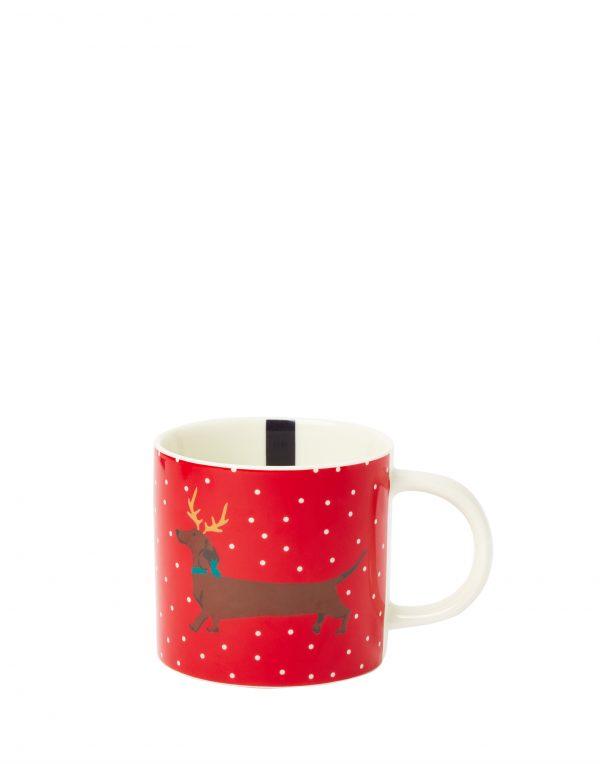 Joules Red Christmas Dog Mug, Yule Dog, Gift Boxed-3747