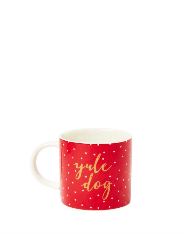 Joules Red Christmas Dog Mug, Yule Dog, Gift Boxed-3748
